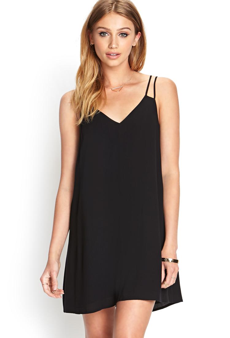 Lyst Forever 21 V Neck Shift Dress In Black