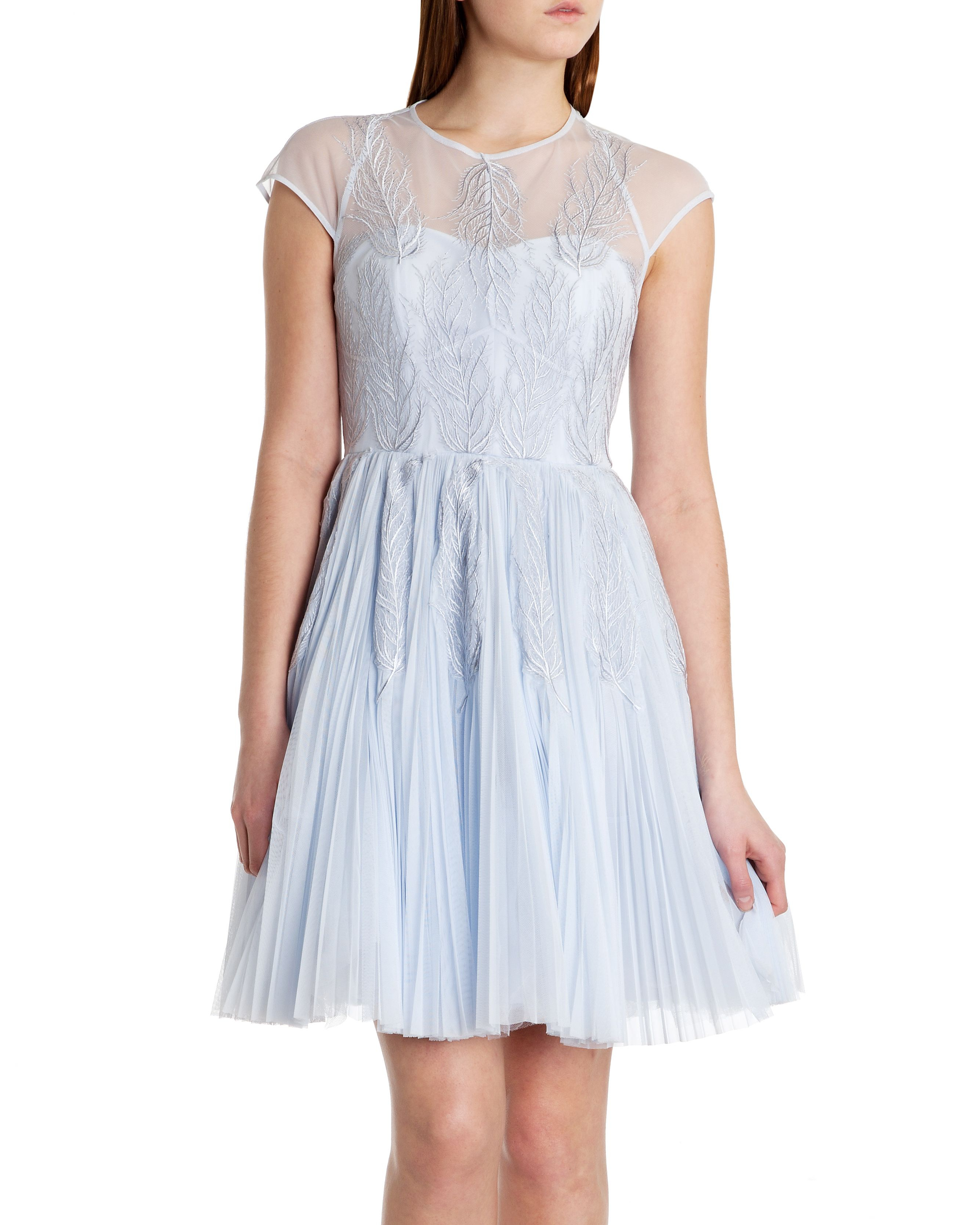 Ted Baker Miyaa Feather Applique Motif Dress In Blue Lyst