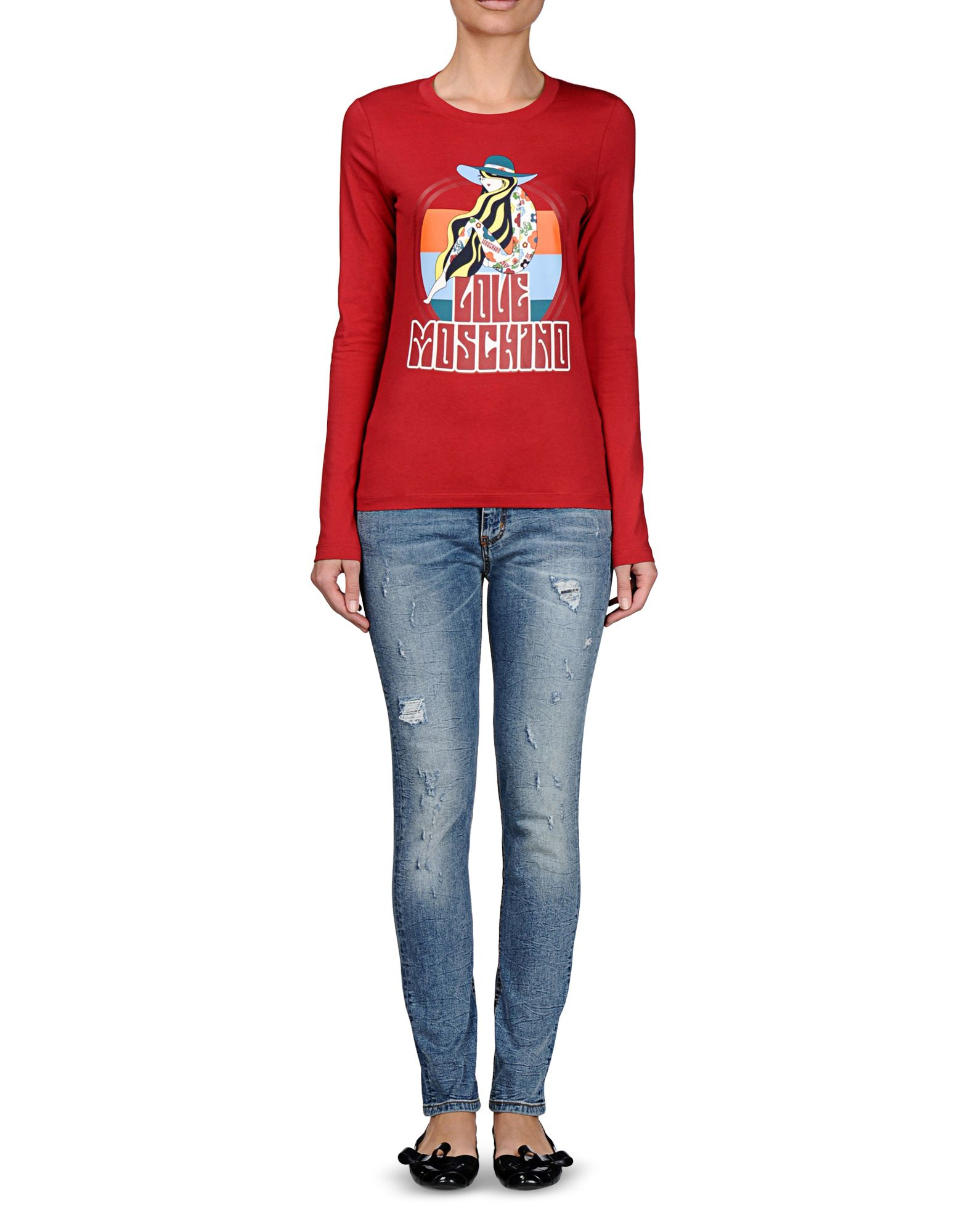 Lyst love moschino long sleeve t shirt in red for Adam lippes women s long sleeve vee t shirt