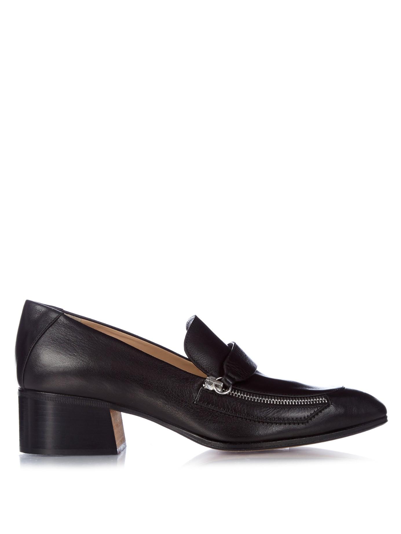 Chlo 233 Iumi Block Heel Leather Loafers In Black Lyst