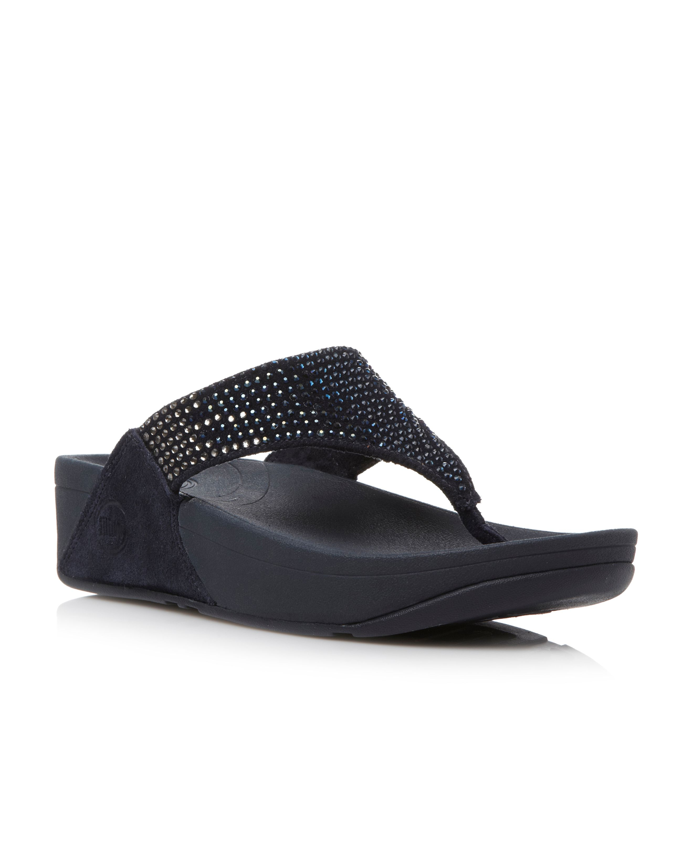 Lyst Fitflop Flare Sequin Tpost Wedge Sandals In Blue