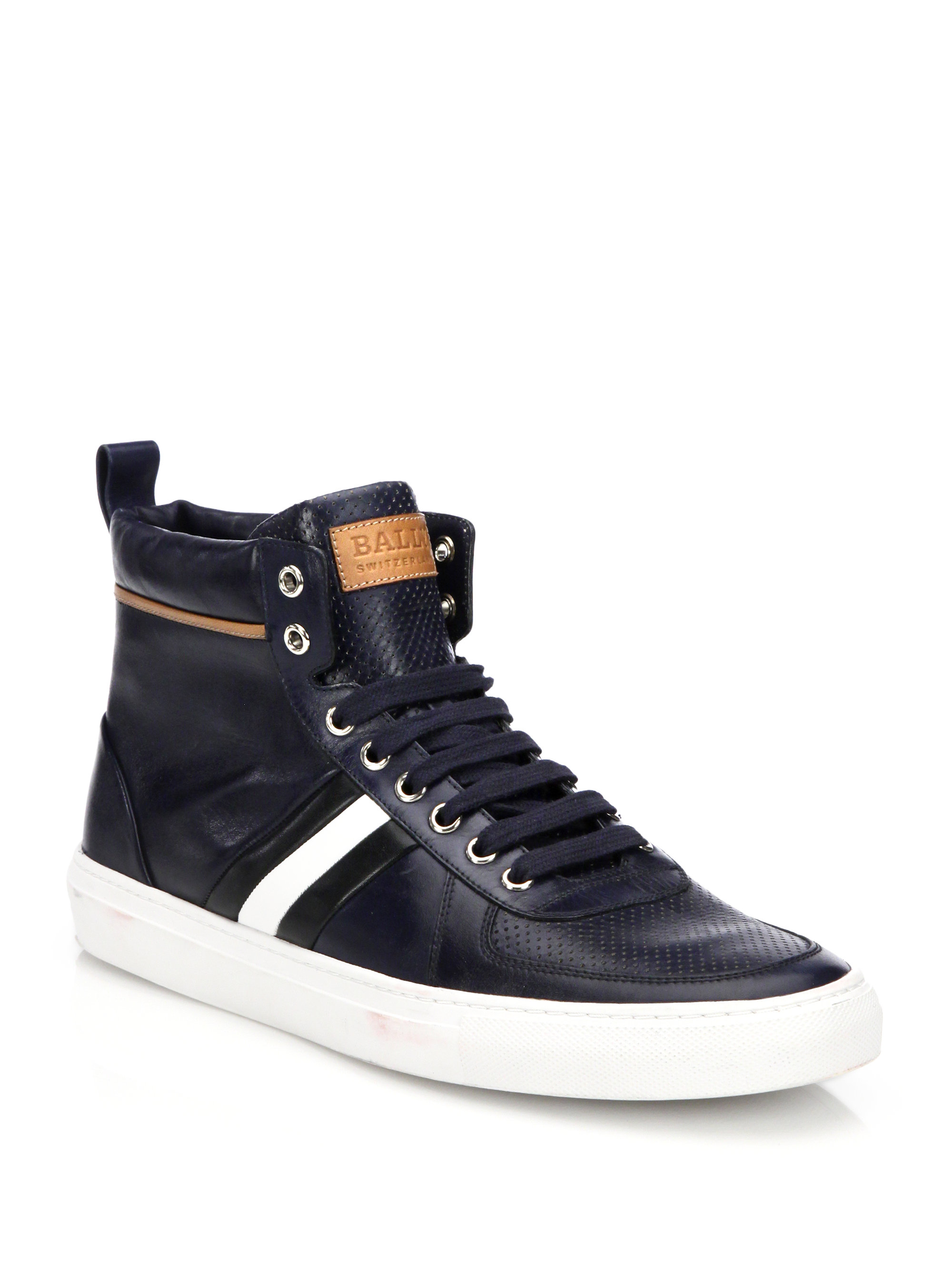 Bally Perforated Leather High-top Sneakers In Blue