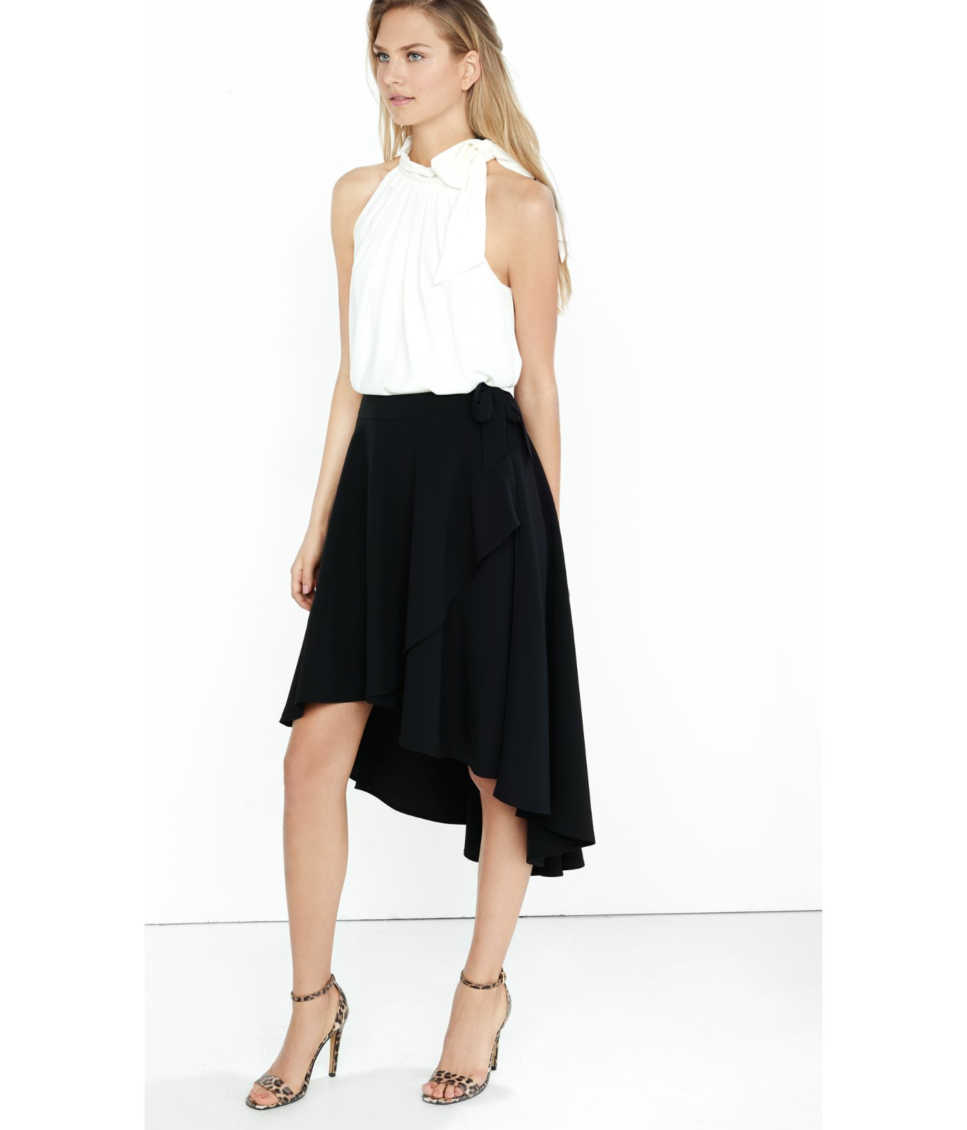 Express Black Hi-lo Wrap Midi Skirt in Black | Lyst