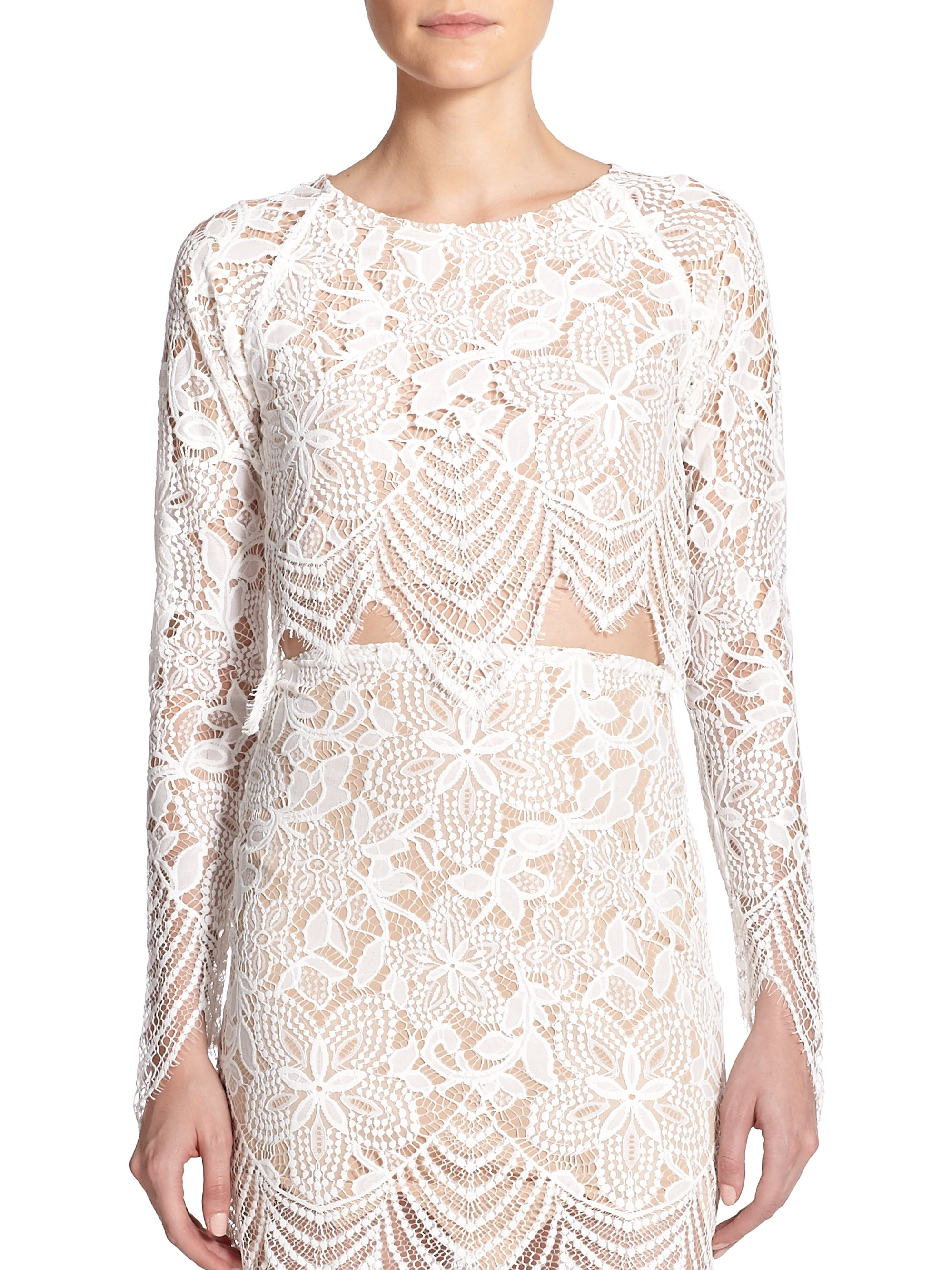 971724f340a For Love & Lemons Guava Lace Cropped Top in White - Lyst