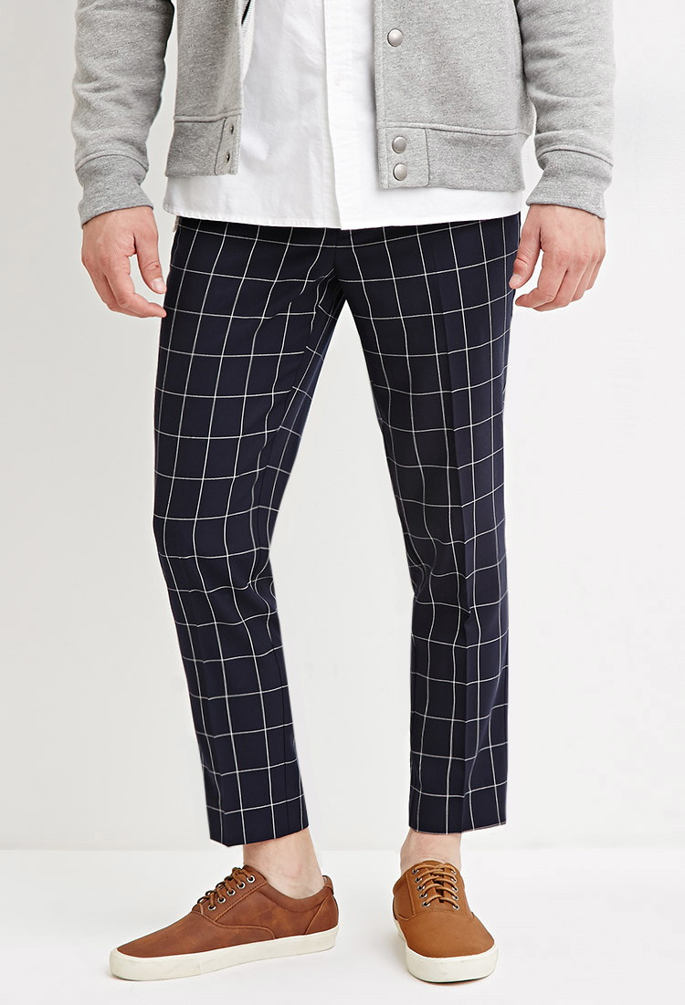Lyst Forever 21 Slim Fit Grid Patterned Pants In Blue