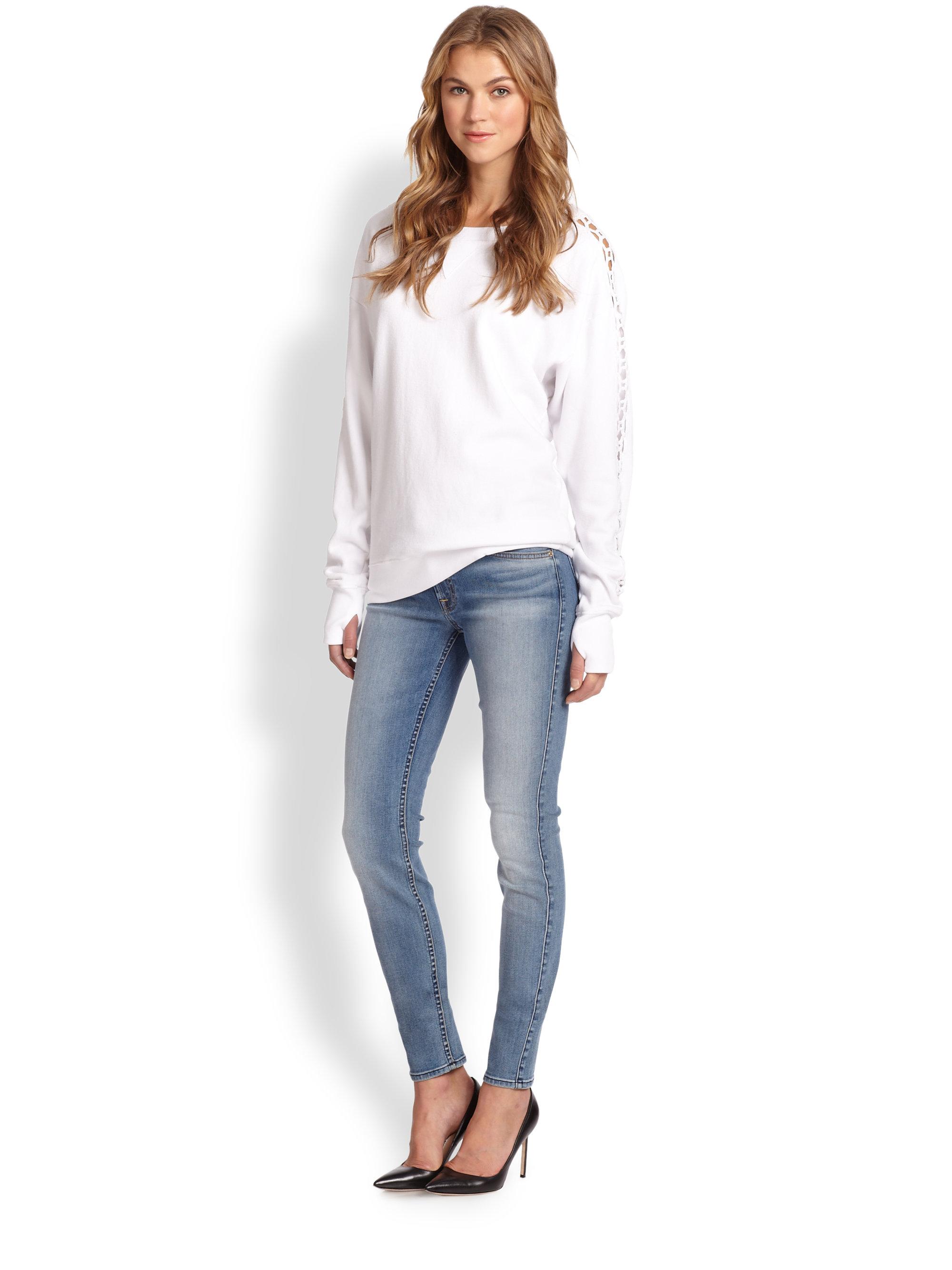 lyst 7 for all mankind slim illusion skinny jeans in blue. Black Bedroom Furniture Sets. Home Design Ideas