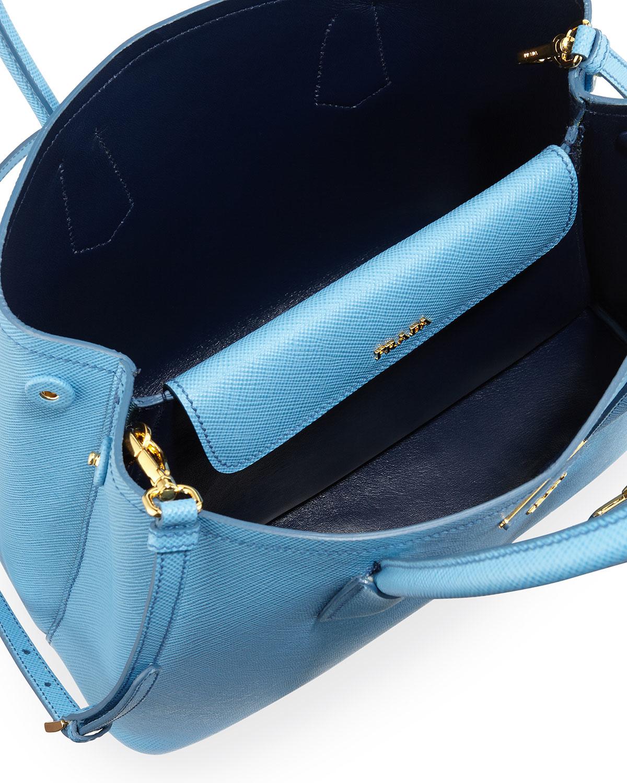 9c8e3b0fd5bc Prada Saffiano Cuir Double Small Tote Bag in Blue (MARE BLUETTE .