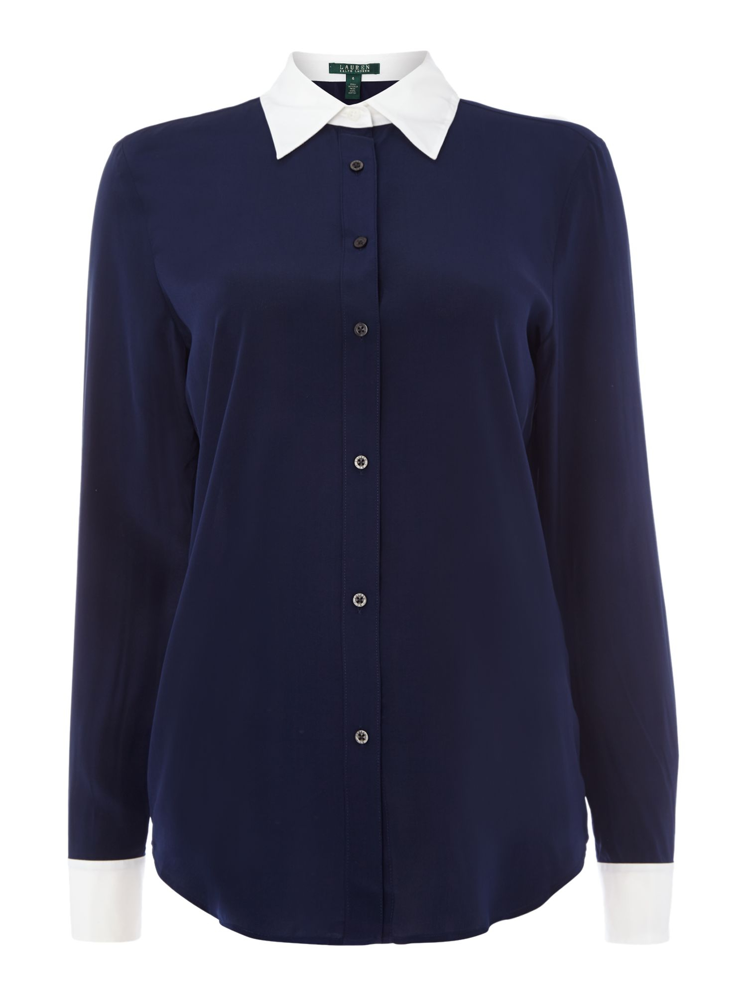 lauren by ralph lauren long sleeved silk shirt with contrast hem in blue navy lyst. Black Bedroom Furniture Sets. Home Design Ideas