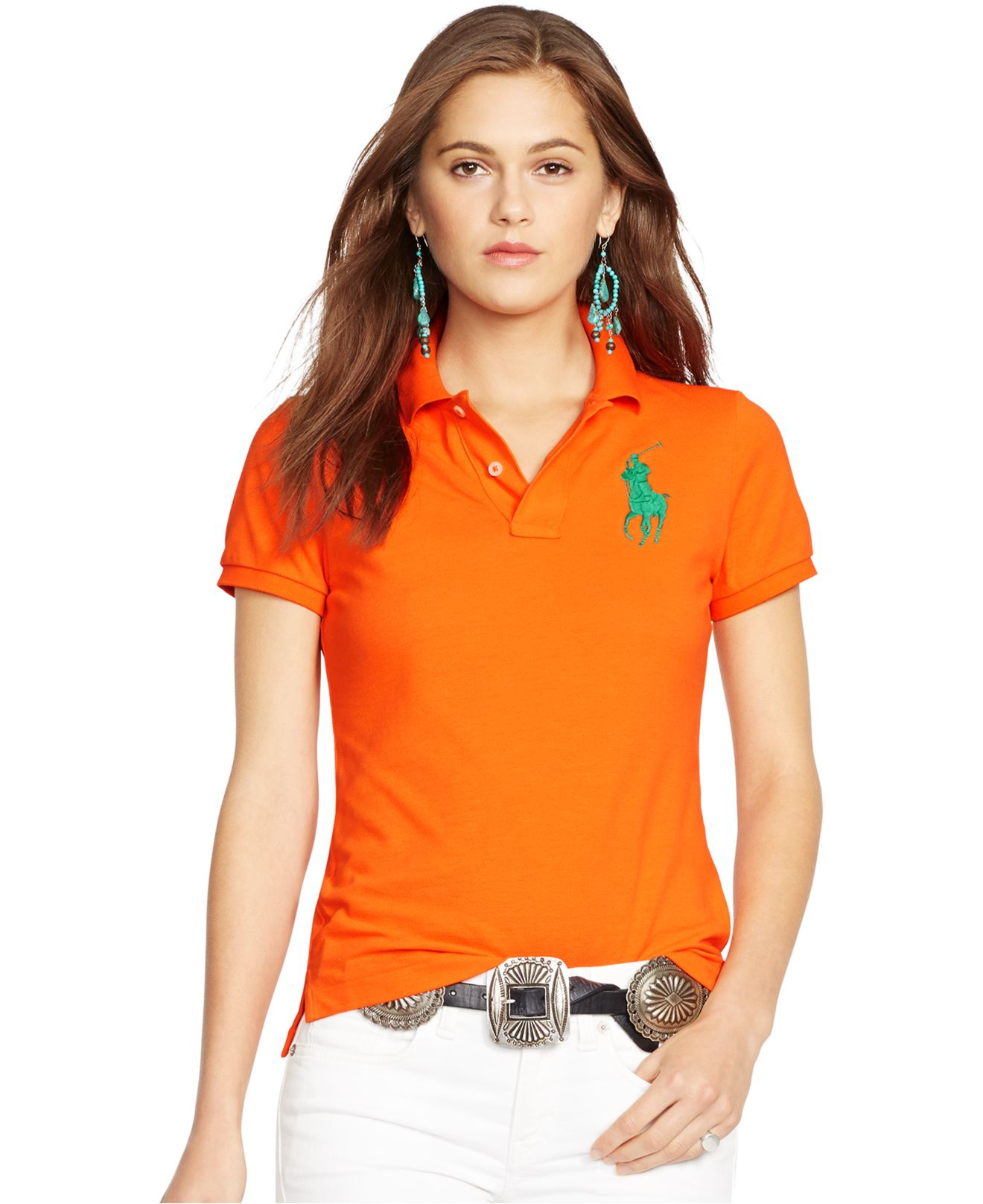 Ralph lauren men slim fit american big polo orange short for Woman s polo shirts
