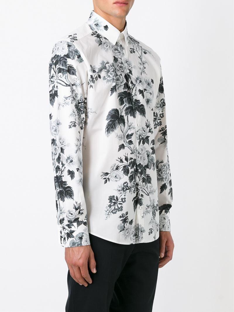 Dolce Gabbana Floral Print Shirt In Black For Men Lyst