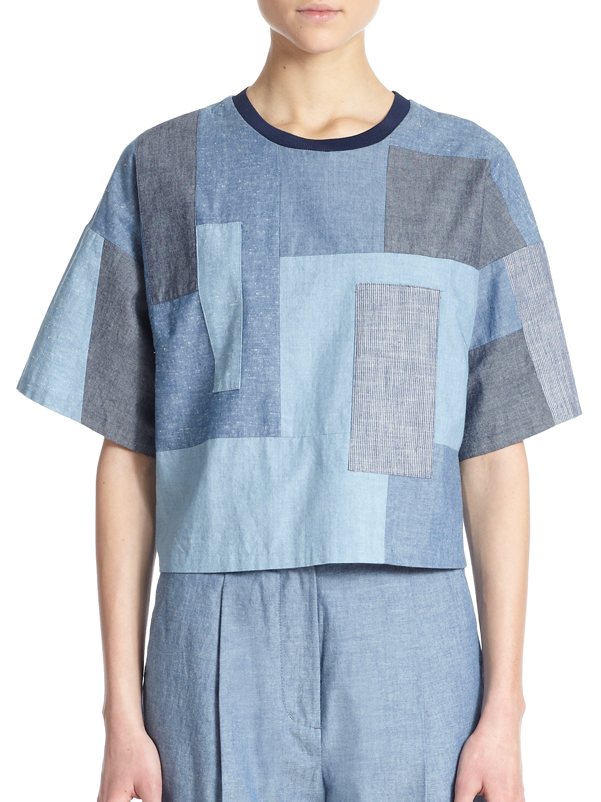 Lyst 3 1 phillip lim boxy cotton chambray patchwork top for Chambray top