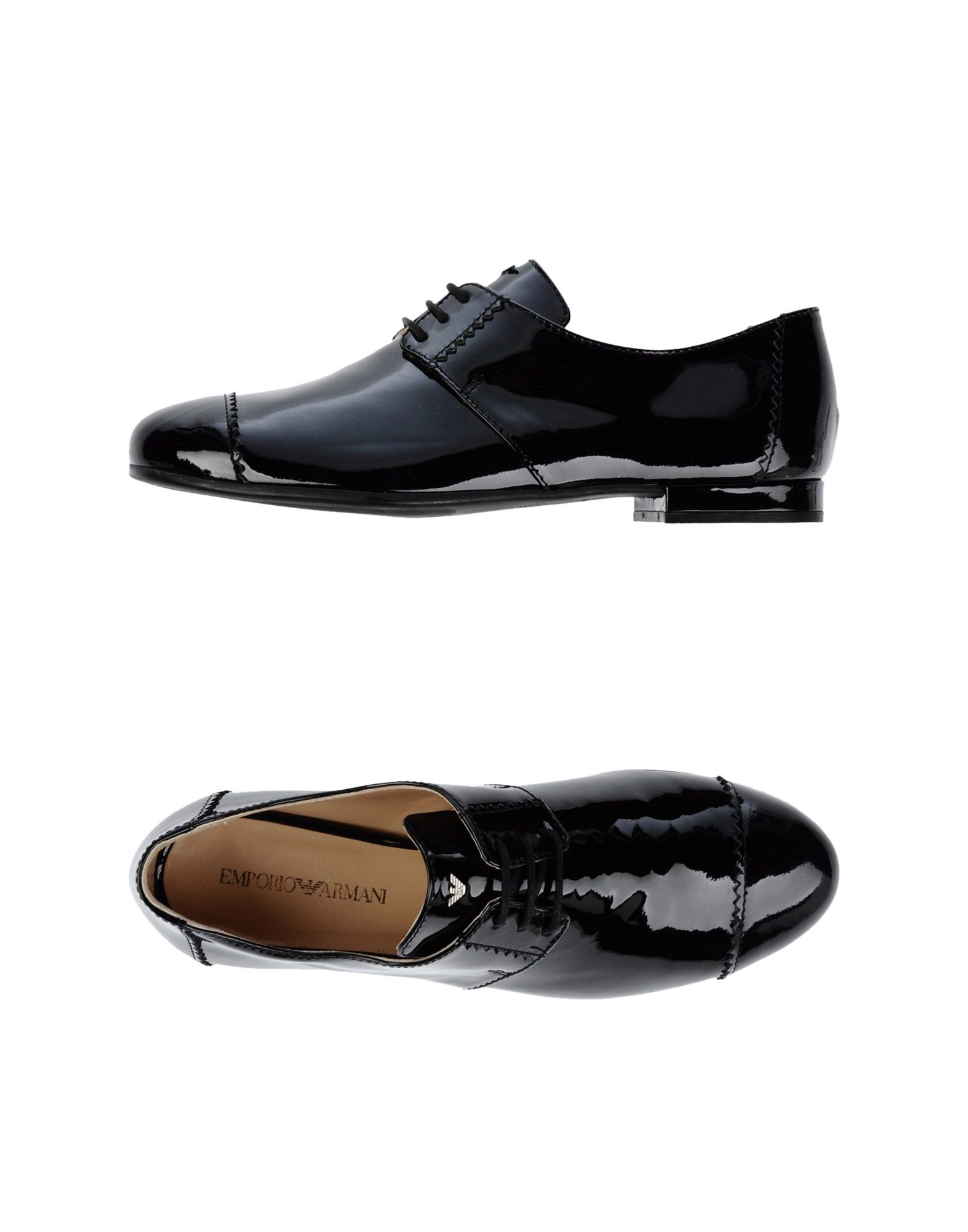 emporio armani lace up shoes in black lyst