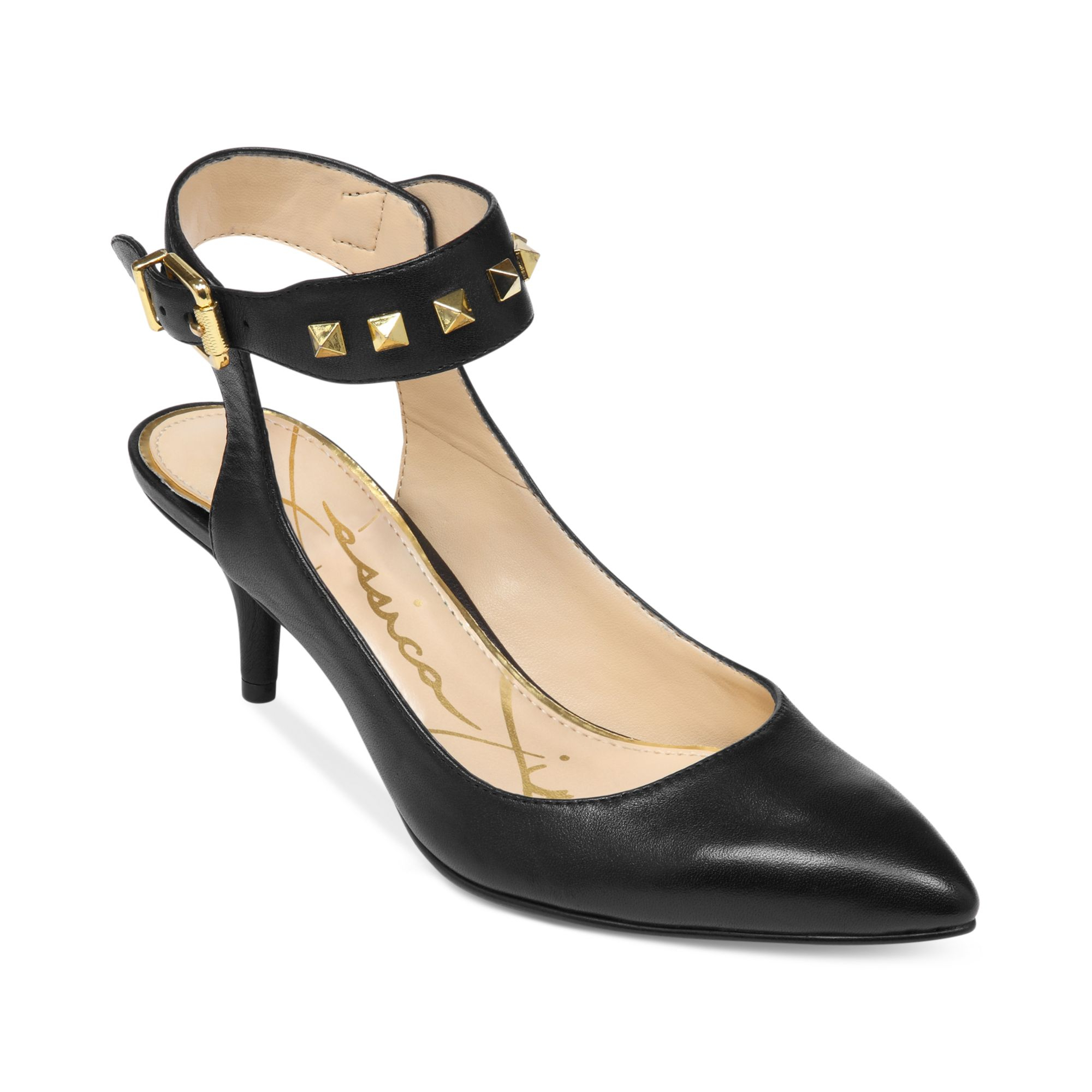 Jessica simpson Mid Heel Ankle Strap Pumps in Black | Lyst