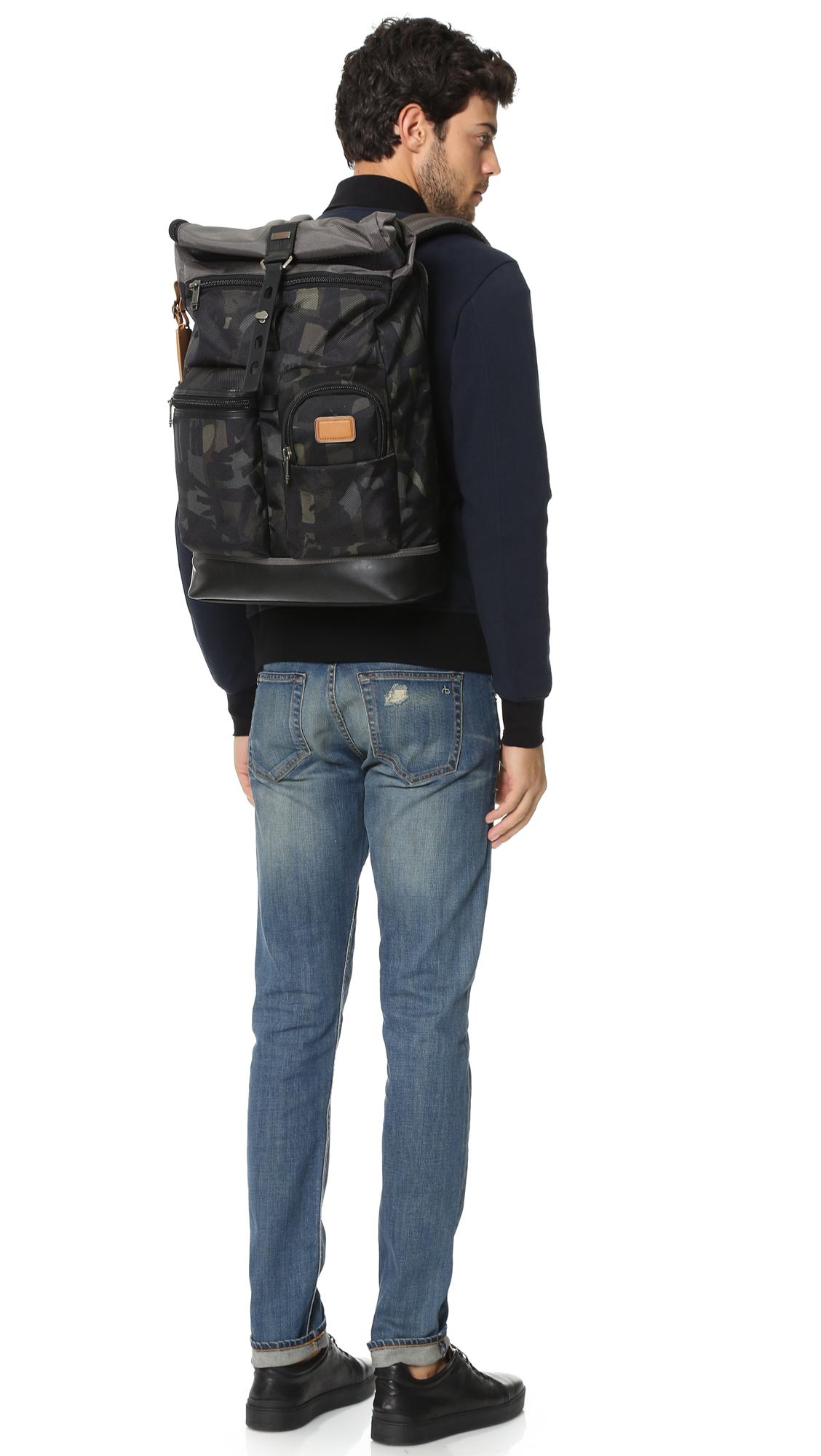 Tumi Alpha Bravo Luke Roll Top Backpack in Gray for Men