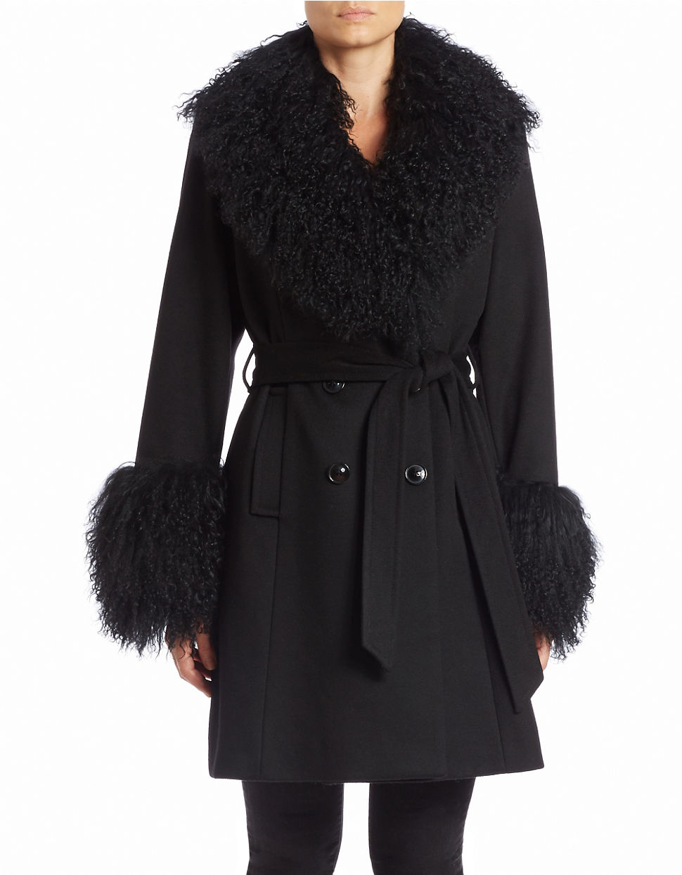 Sofia cashmere Mongolian Lamb Fur-trimmed Coat in Black | Lyst