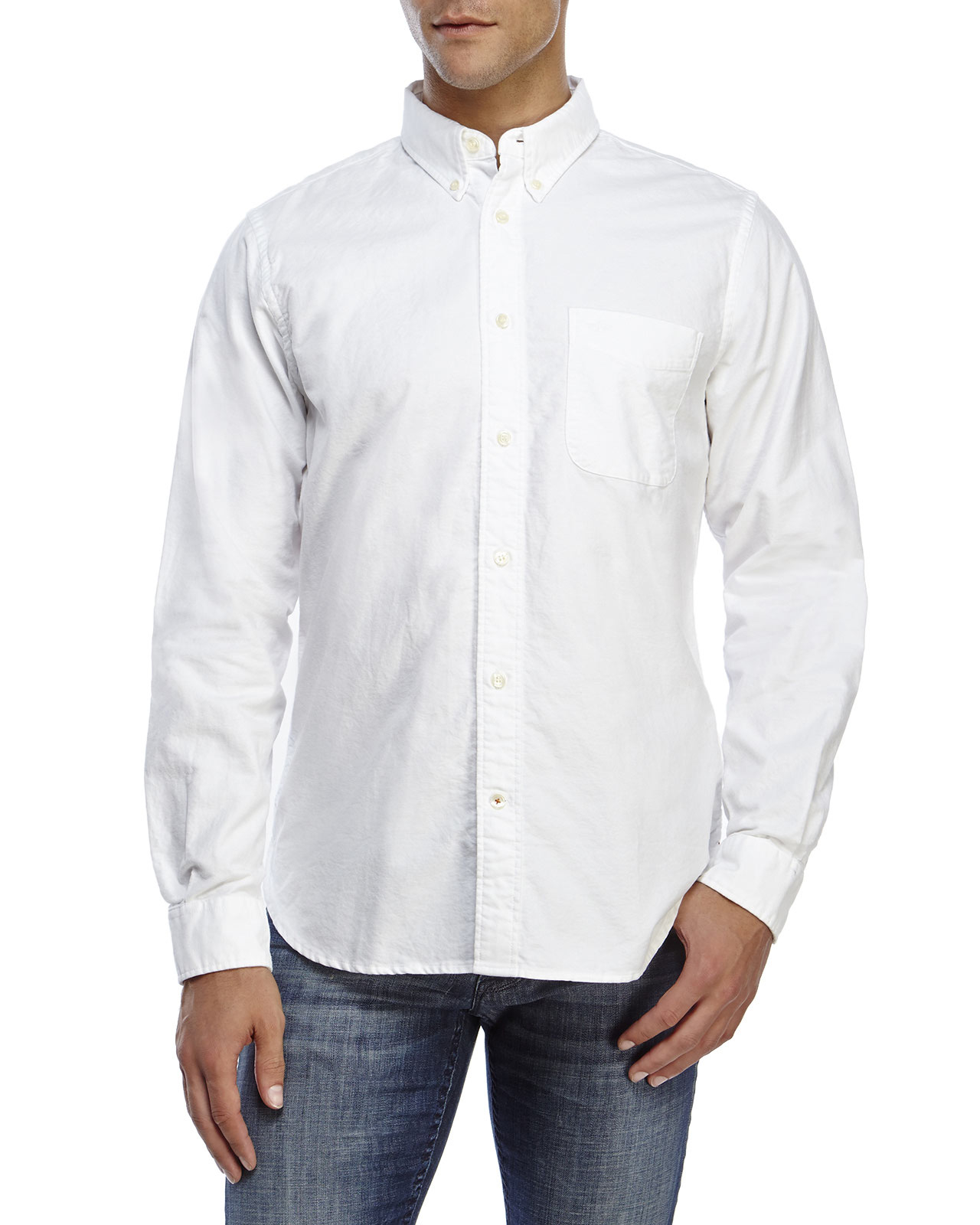 Lyst dockers modern classic fit oxford button down shirt for Mens white oxford button down shirt