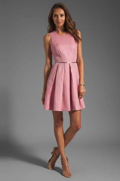 Cynthia Rowley Ticking Tank Dress In Pink In Blue Pink