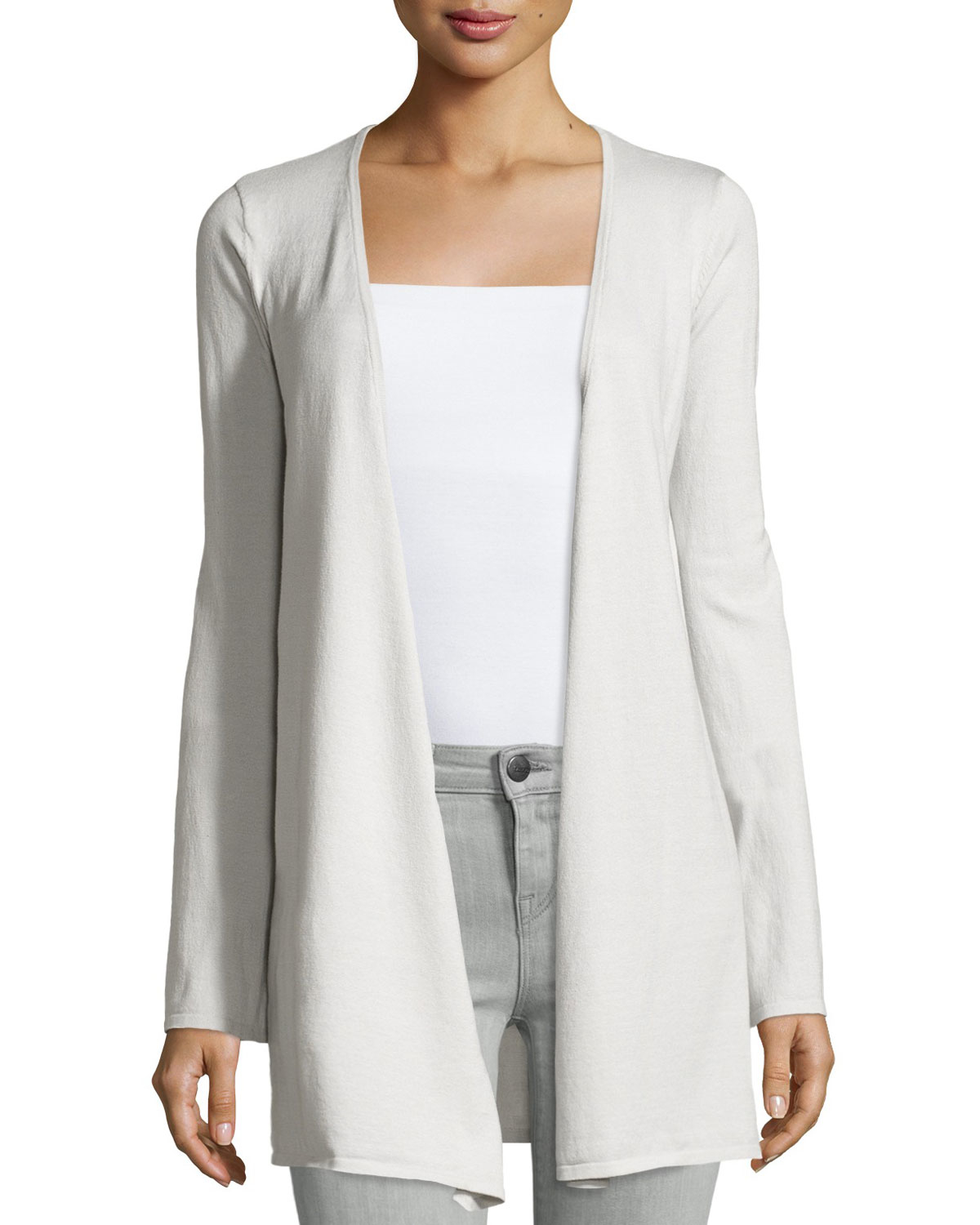 Minnie rose Cotton-blend Long-sleeve Duster Cardigan in White | Lyst