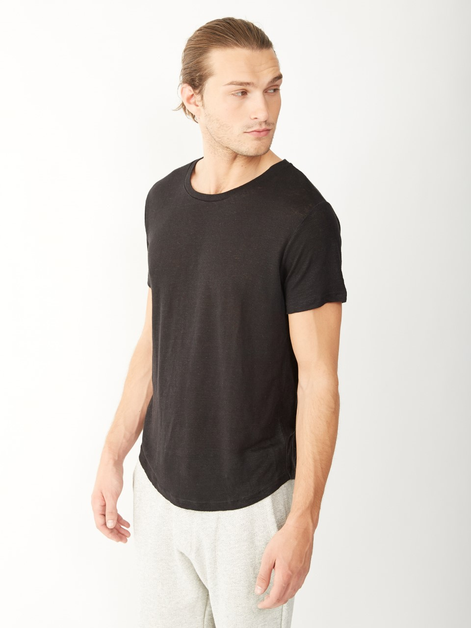 Lyst Alternative Apparel Wide Neck Linen Tshirt In Black