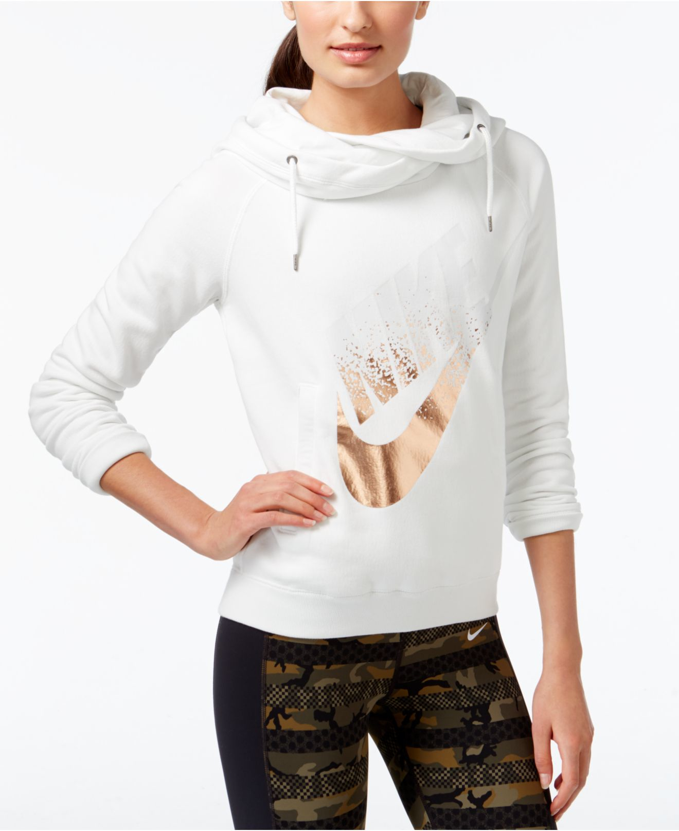 b3a9f57d6d6e ... Lyst - Nike Rally Funnel-neck Metallic Logo Hoodie in White  Women ...