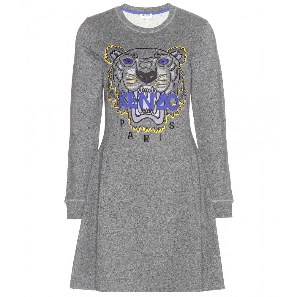 kenzo cotton sweater dress in gray lyst. Black Bedroom Furniture Sets. Home Design Ideas