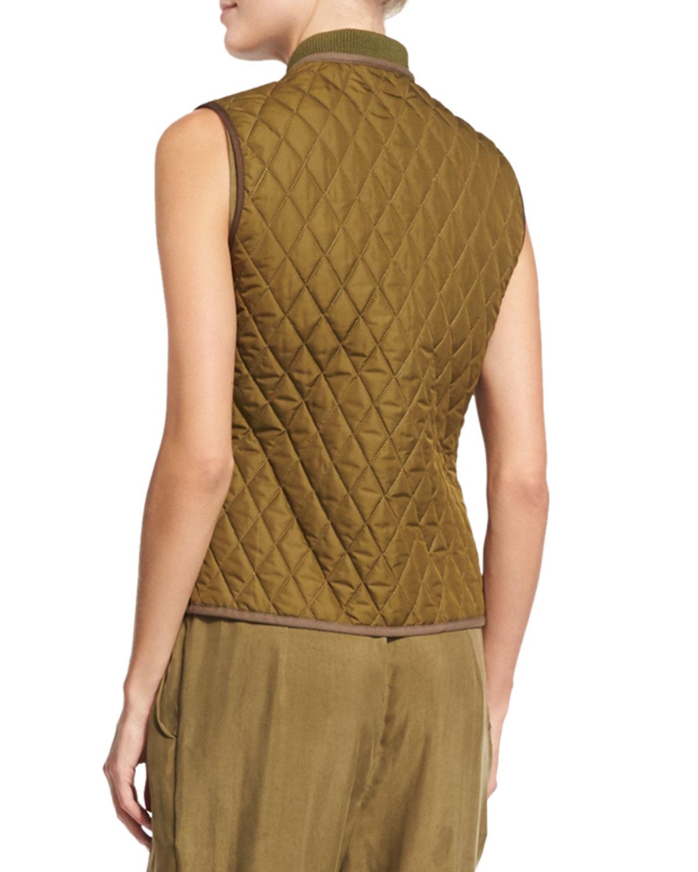 Belstaff Quilted Zip-front Vest in Brown | Lyst : quilted zip front vest - Adamdwight.com