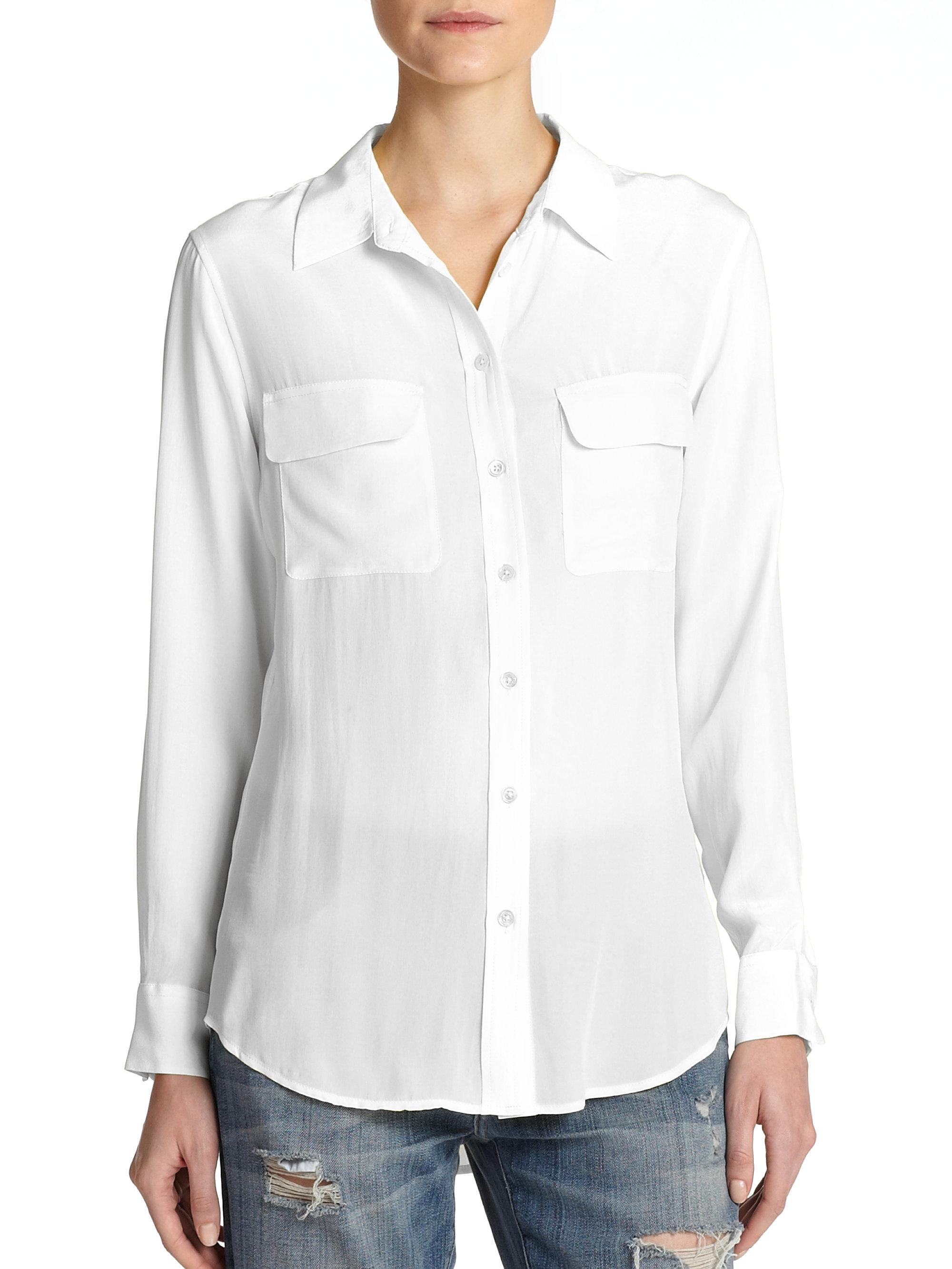 Equipment slim signature silk shirt in white save 12 lyst for Equipment signature silk shirt