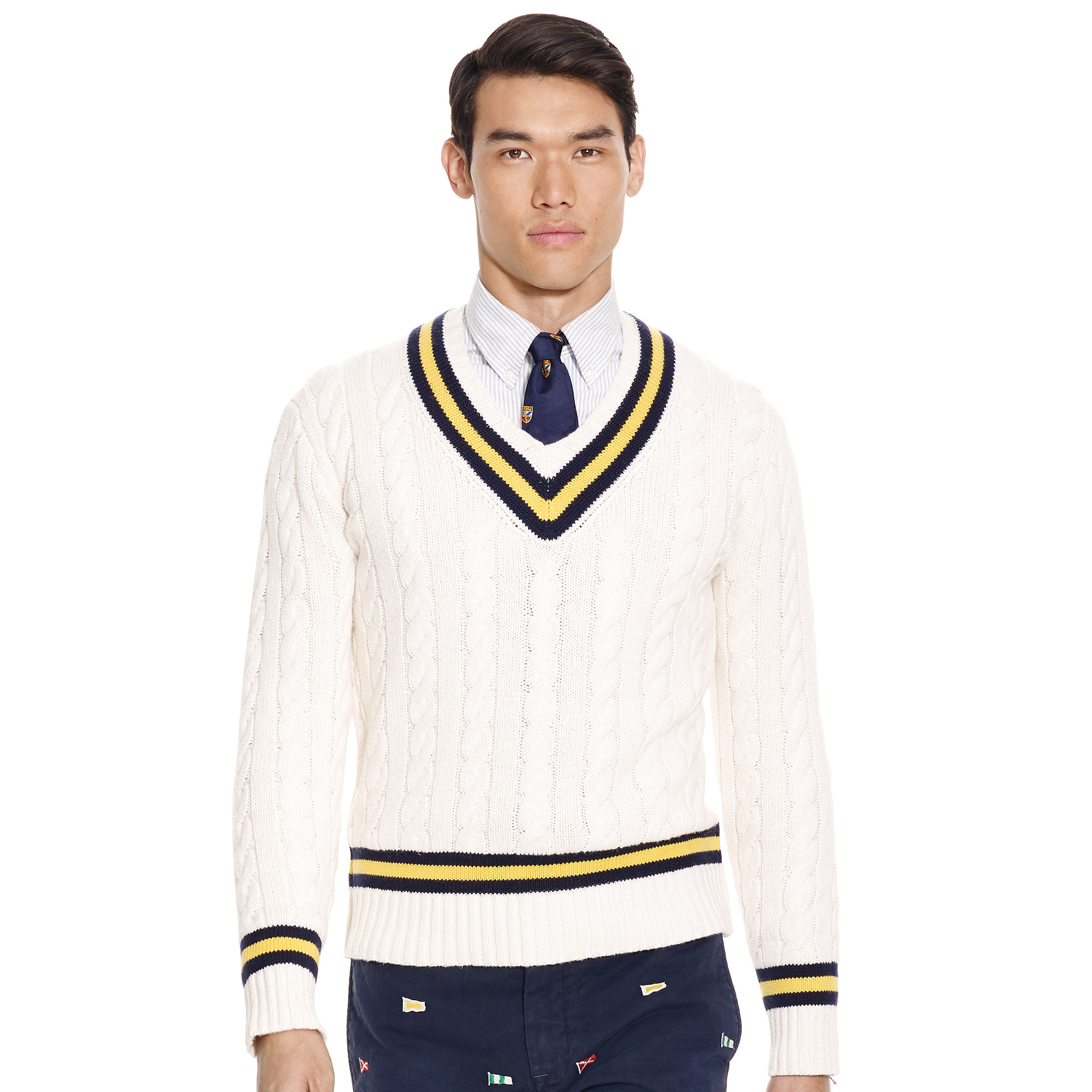 ae370a764f8a51 Polo Ralph Lauren Cotton-blend Cricket Sweater in White for Men - Lyst