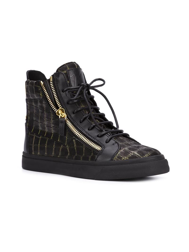 Giuseppe Zanotti Crocodile Leather High Top Sneakers In