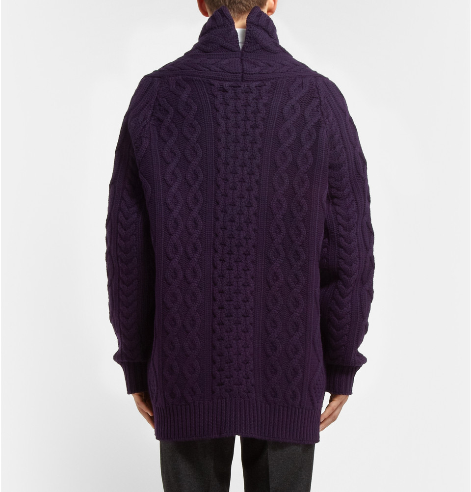 Burberry prorsum Oversized Chunky Cable Knit Cashmere Cardigan in ...