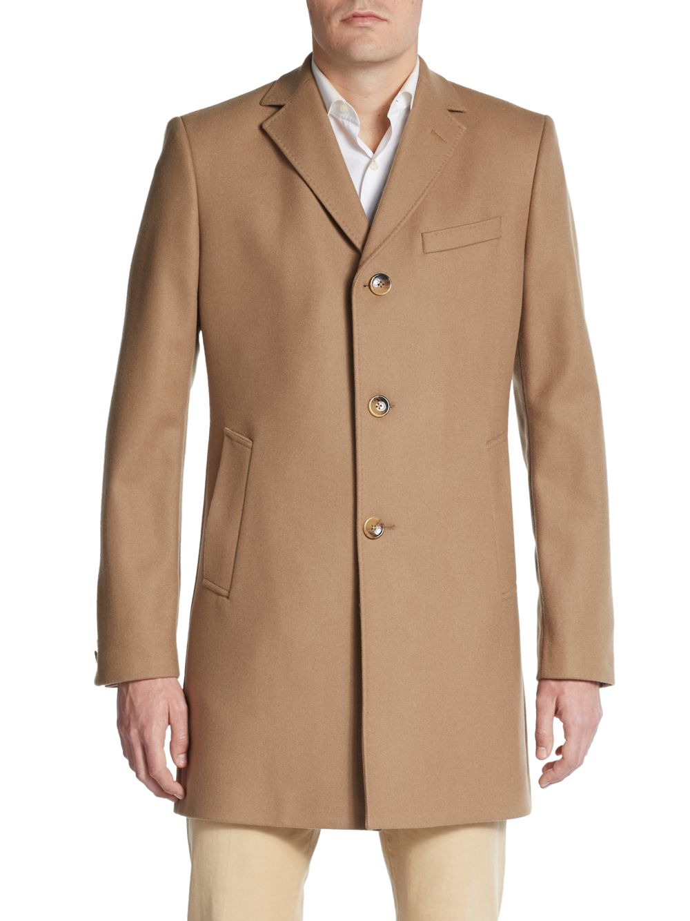 J.lindeberg Wolger Compact Melton Wool Coat in Natural for Men | Lyst