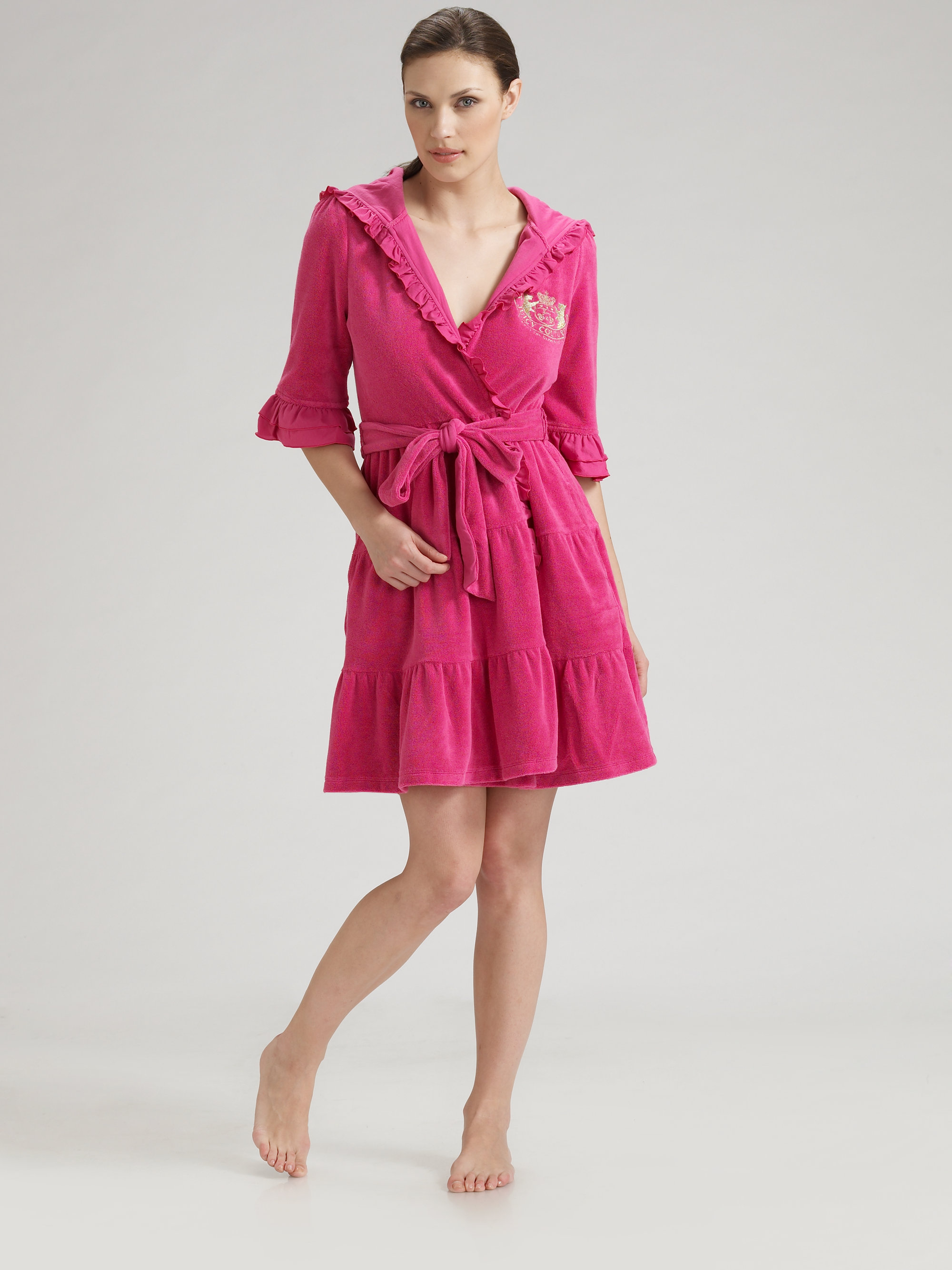 bce4626077 Lyst - Juicy Couture Hooded Ruffled Terry Robe in Pink