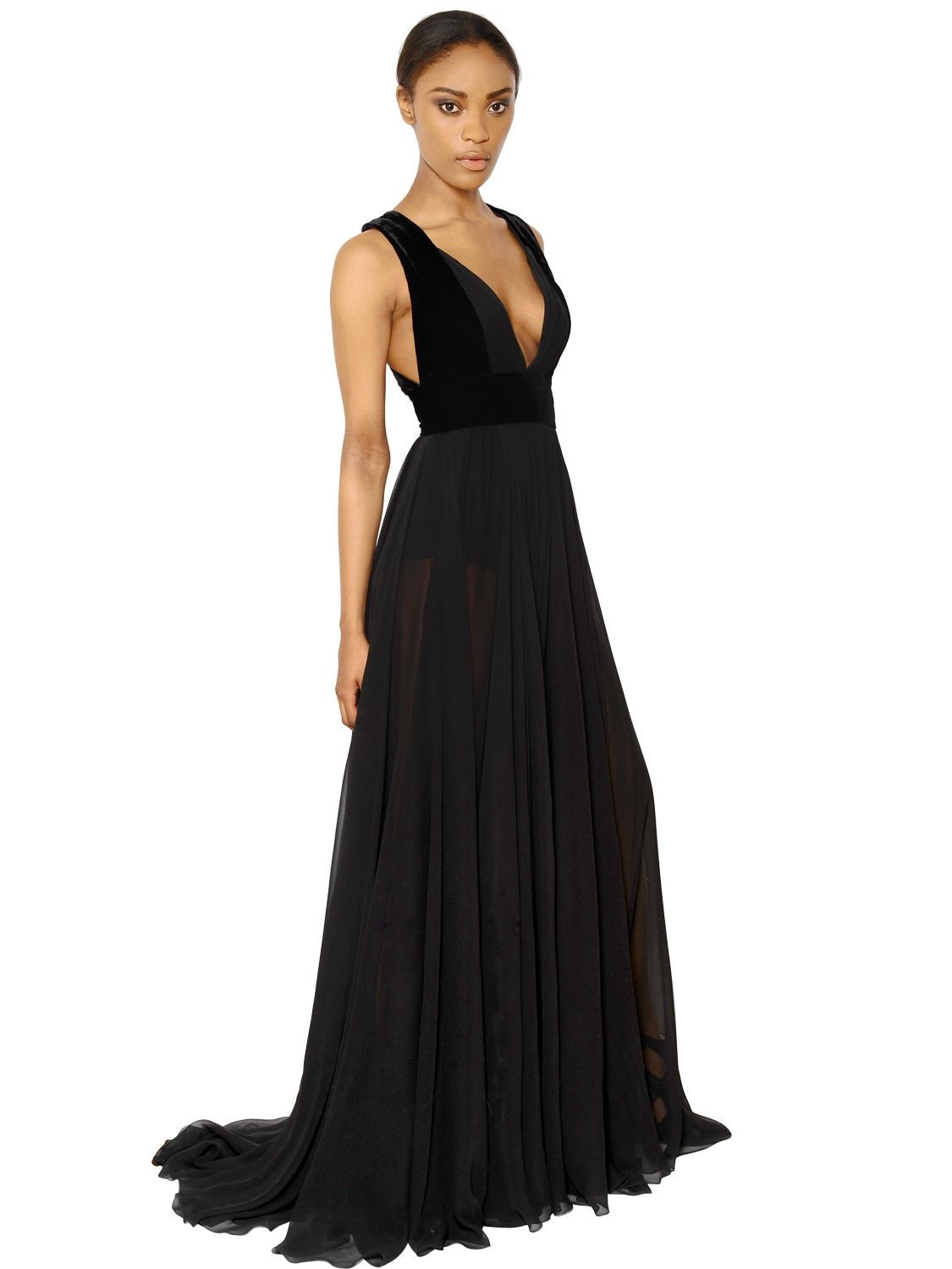 Elie saab Silk Georgette and Velvet Dress in Black | Lyst