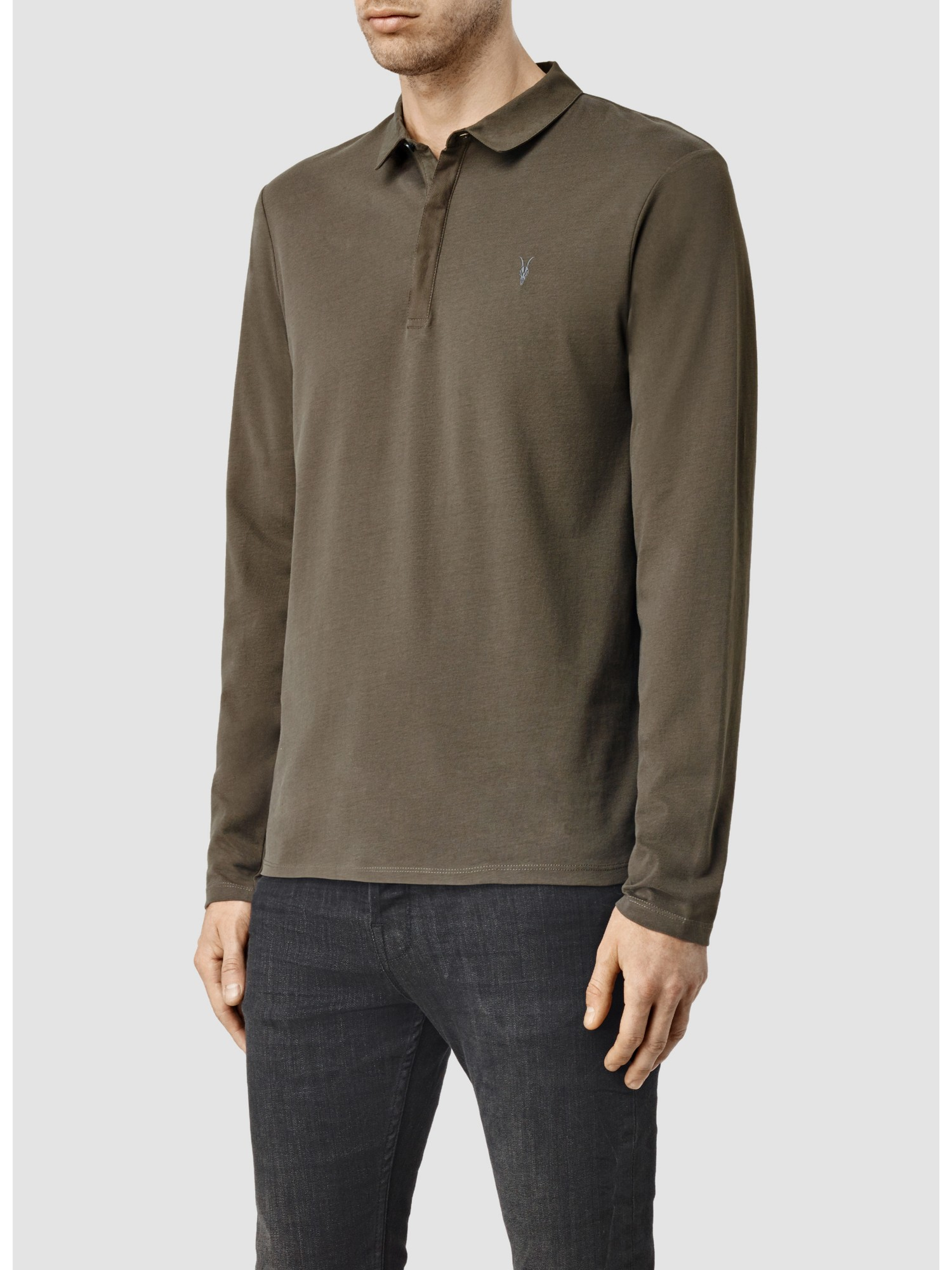 Lyst allsaints brace long sleeve polo shirt in brown for men for All saints polo shirt