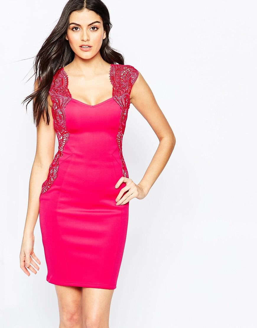 Lipsy Midi Dress In Applique Lace in Pink | Lyst