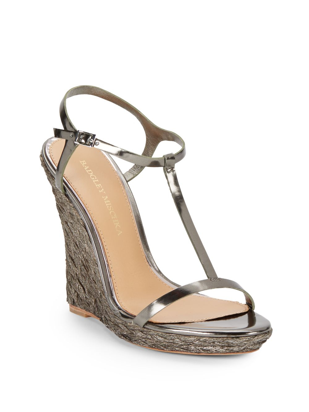 Badgley Mischka Afton Iii T Strap Wedge Dress Sandals In
