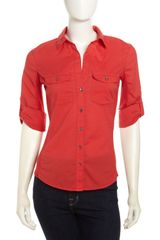 James Perse Slub Knit Patchpocket Tee Rouge - Lyst