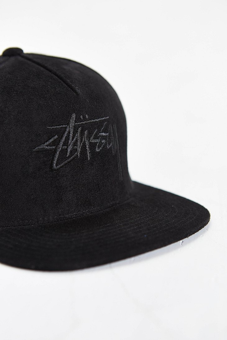 f9adb358c1c Lyst - Stussy Stock Suede Snapback Hat in Black for Men