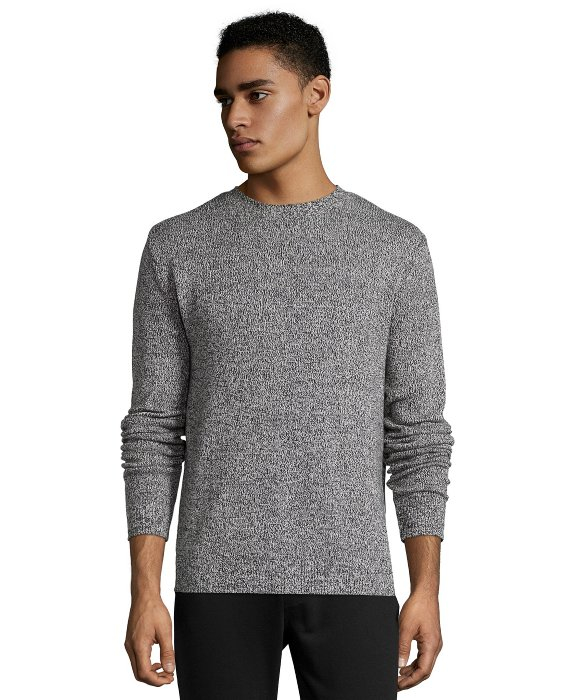 Jachs Black And White Marled Cotton Crewneck Sweater in Gray for ...