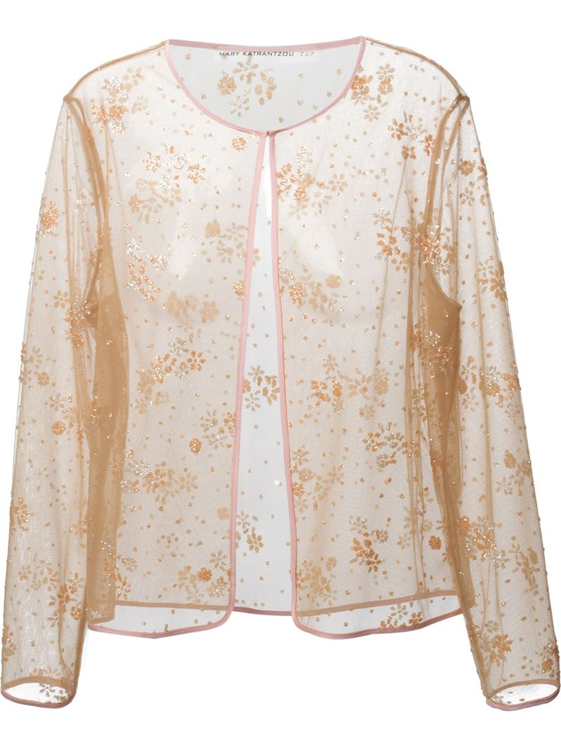 Mary katrantzou Sheer Glitter Cardigan | Lyst