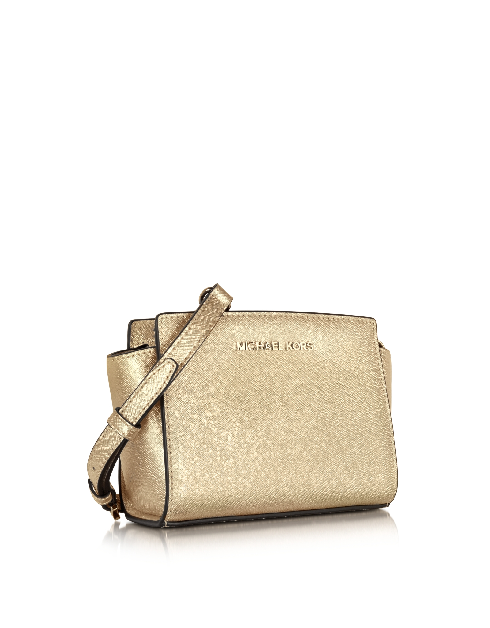 e8633494434237 Michael Kors Pale Gold Metallic Saffiano Leather Selma Mini Messenger Bag  in Metallic - Lyst