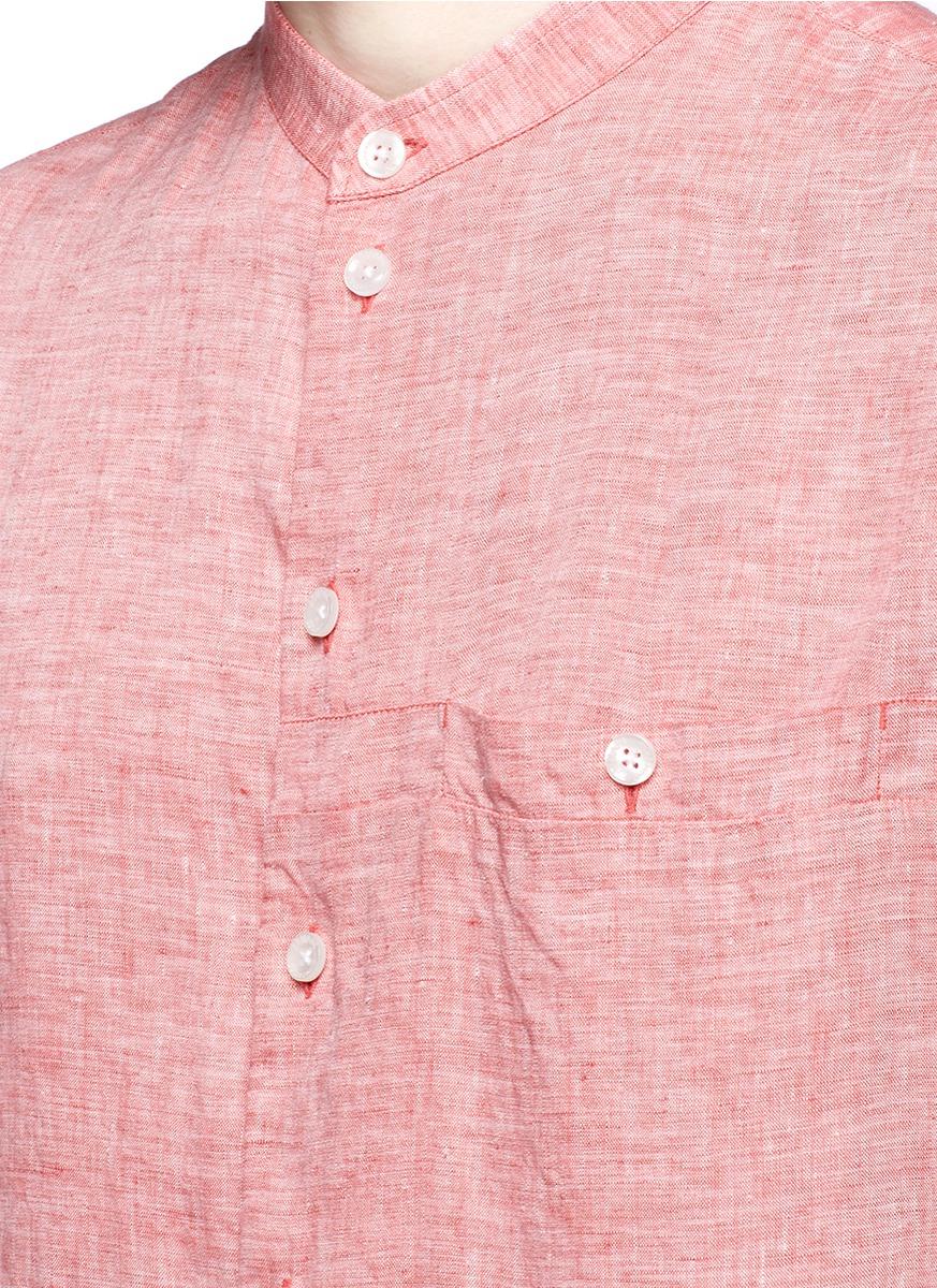 Lyst Armani Mandarin Collar Short Sleeve Linen Shirt In
