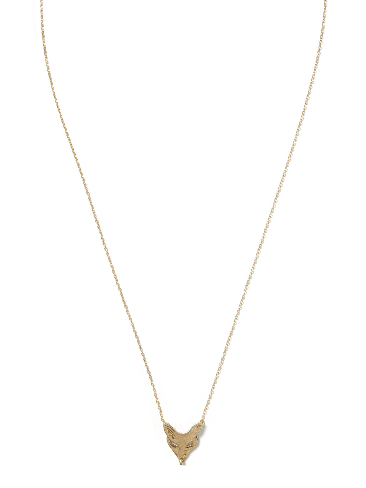 banana republic fox pendant necklace in gold brass lyst
