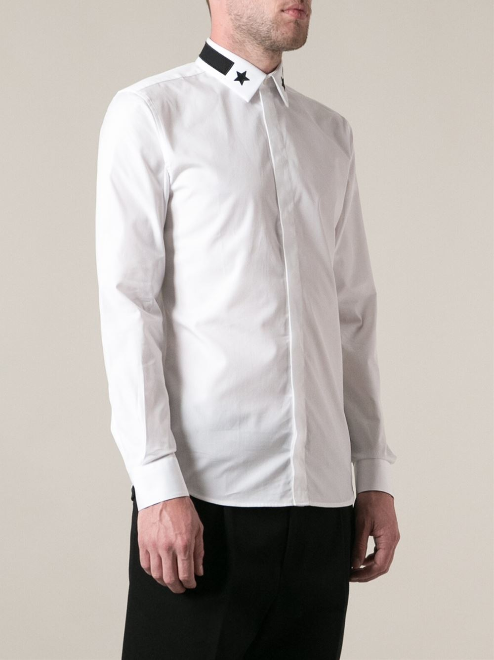 Lyst Givenchy Embroidered Collar Shirt In White For Men