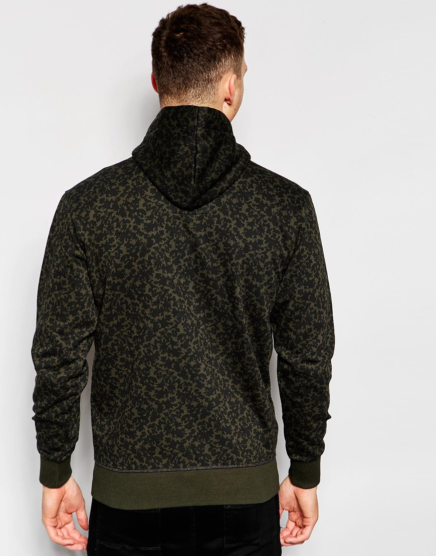 star raw zipthru hoodie micro forest camo print in asfalt in black. Black Bedroom Furniture Sets. Home Design Ideas
