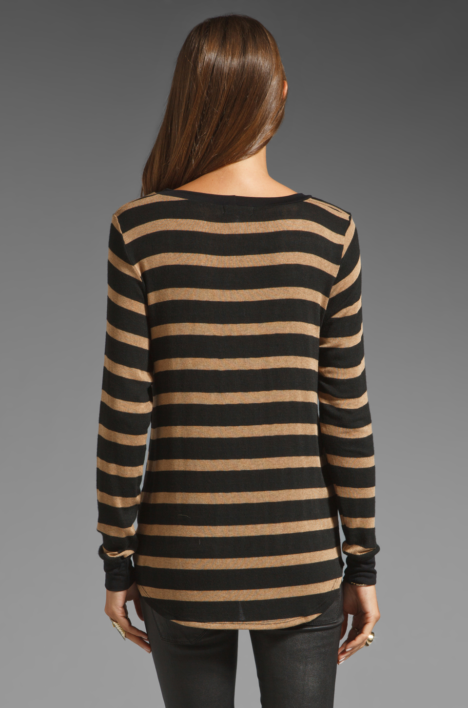 Lna Spencer Striped Sweater in Black | Lyst