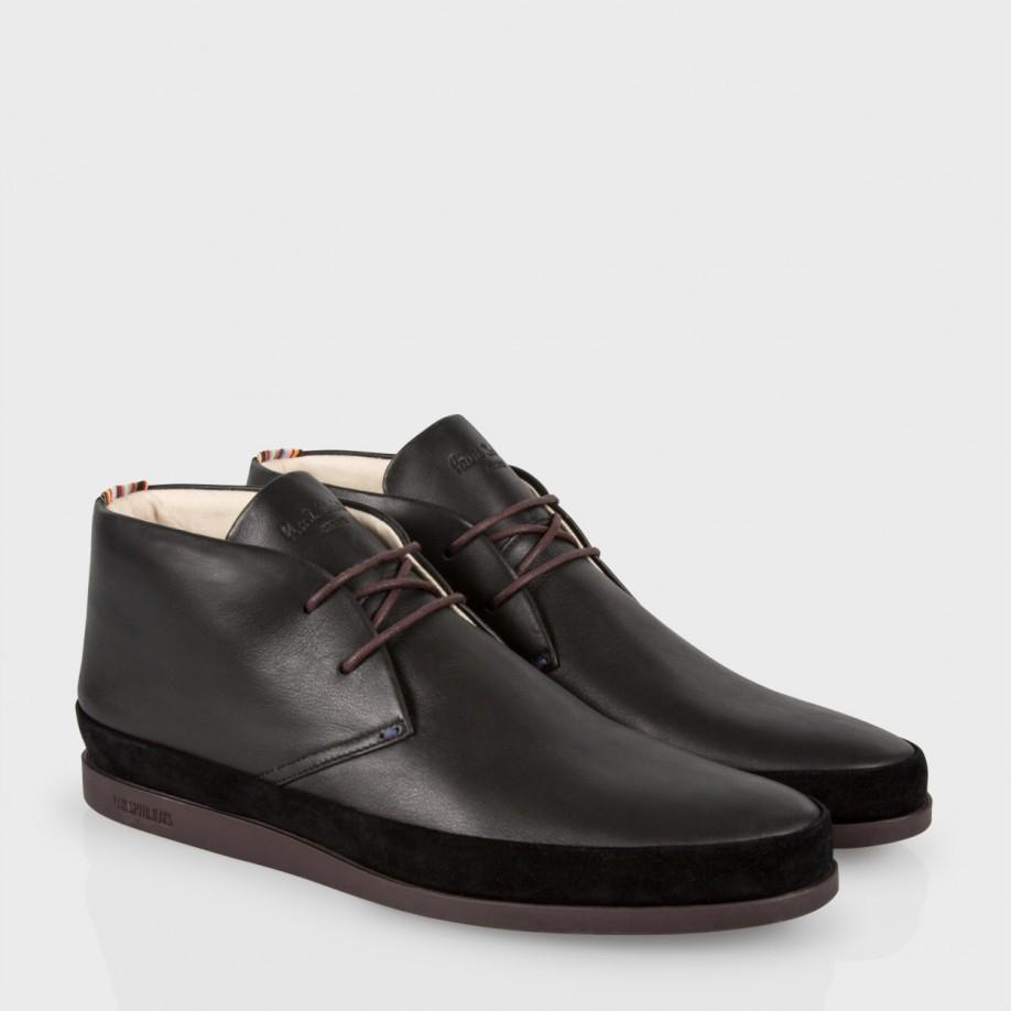 Paul smith Men'S Black Leather 'Loomis' Chukka Boots With Damson ...