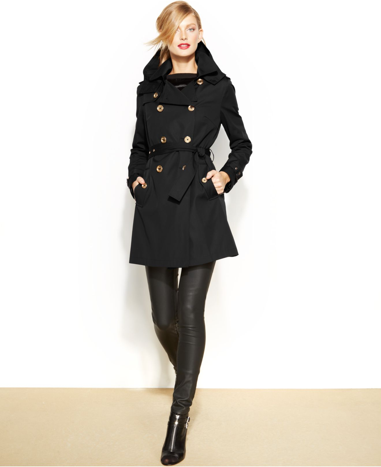 Michael kors Michael Petite Double-Breasted Trench Coat in Black ...
