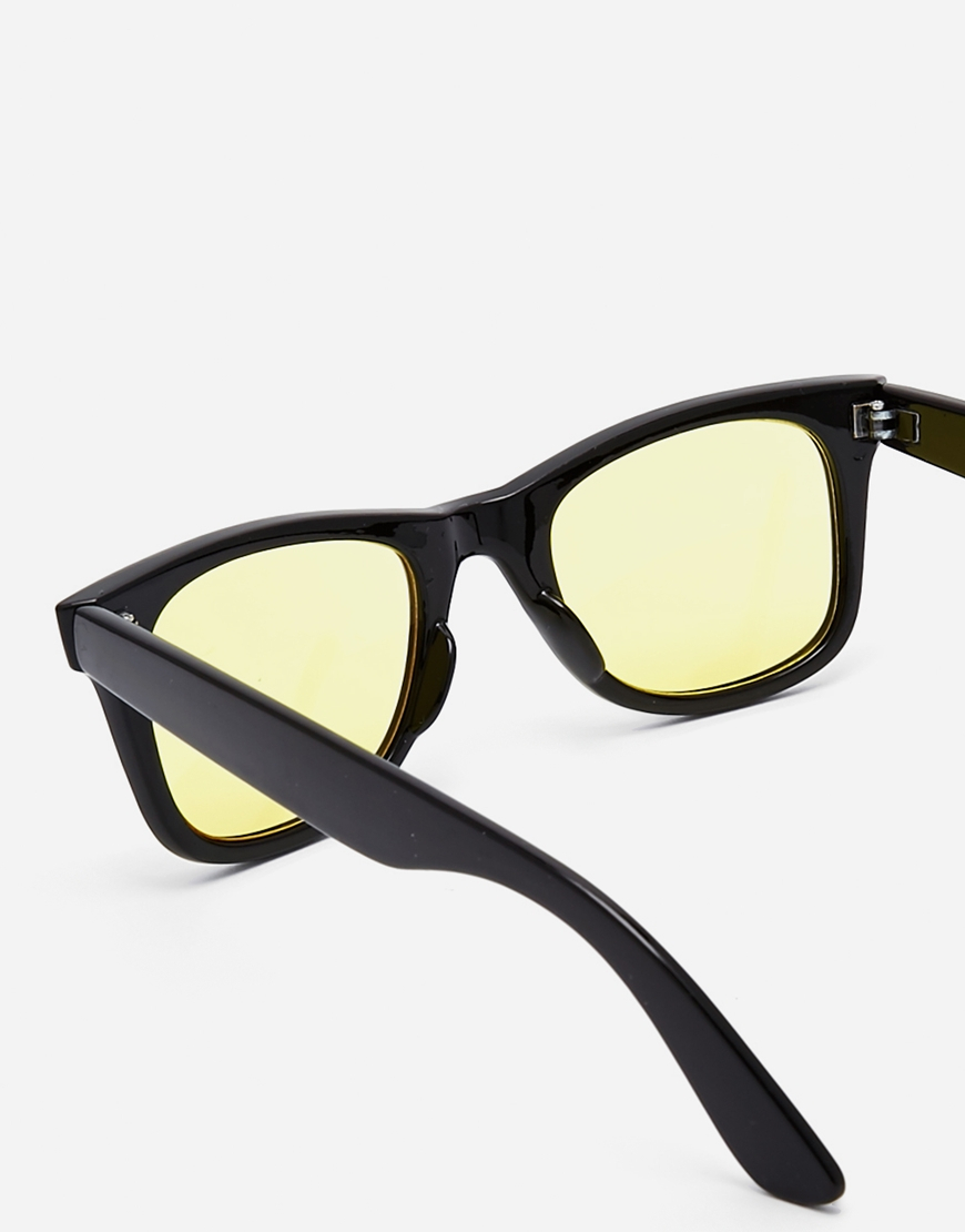 10dd7c78d83 Lyst - ASOS Square Sunglasses With Yellow Lens in Black for Men