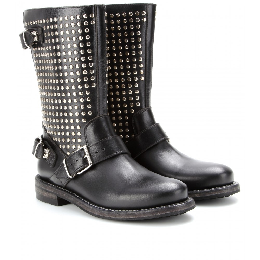 burberry brit studded leather biker boots in black lyst